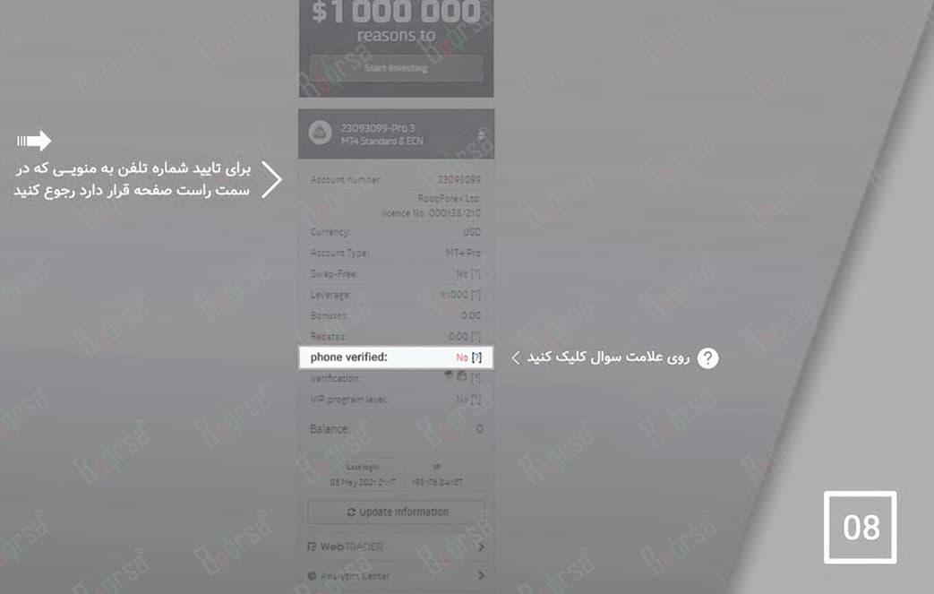 تاییده موبایل در روبوفارکس - ثبت نام فارکس